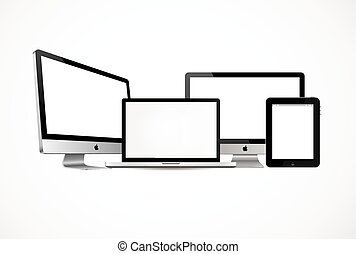 Modern computer and mobile devices - High quality...