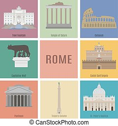 Symbols of Rome Trevi Fountain, Temple of Saturn, Coliseum,...