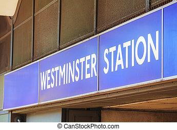 London Westminster underground station sign
