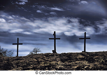 Old Wooden Crosses. - The old rugged wooden cross of the...