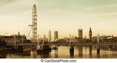 Thames River Panorama - Thames River panorama with London...