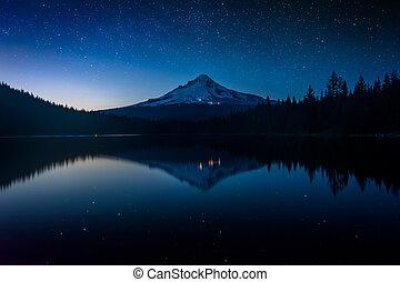 Stars in the night sky and Mount Hood reflecting in Trillium...