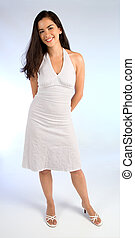 Beautiful Young Lady in a White Summer Dress