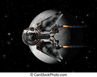 Spaceship drone passing the Moon - Alien spaceship, with...