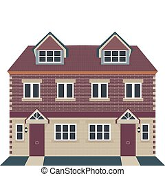 Georgian House Vector Illustration - Vector Illustration -...
