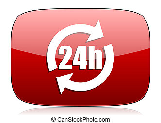 24h red glossy web icon