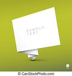 Vector simple background with folded white paper