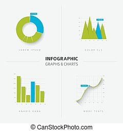 Set of vector flat design infographic charts and graphs