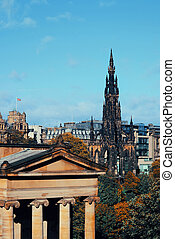 Scott Monument and National Galleries in Edinburgh