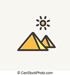 The Pyramids of Giza thin line icon - The Pyramids of Giza...