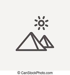 The Pyramids of Giza thin line icon