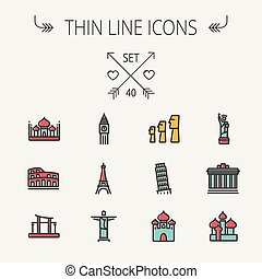 Travel thin line icon set for web and mobile. Set include-...