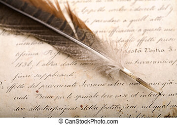 Old letter - A beautiful old feather on an old letter