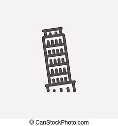 The Leaning Tower Pisa thin line icon - The leaning tower of...