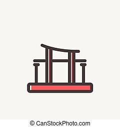 Famous gate thin line icon - Famous gate icon thin line for...