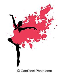 Ballet dancer in motion - Ballet dancer with a red painted...