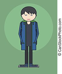 line style illustration showing young person standing with hands in his pockets