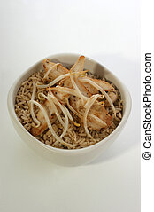 organic beansprouts with rice and chicken in a bowl