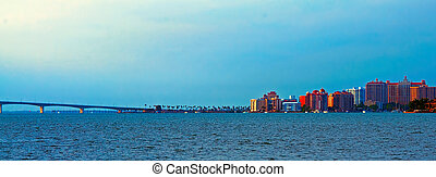 Sarasota Skyline - A panorama of Sarasota Florida and the...