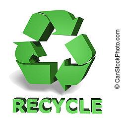 verde, reciclar, icono,