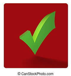 green tick on red - 3d icon green tick on red