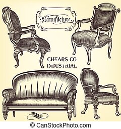 Antique set of vector hand drawn chears in vintage style.eps