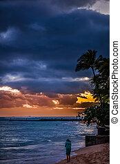 Windy sunset at Waikiki Beach