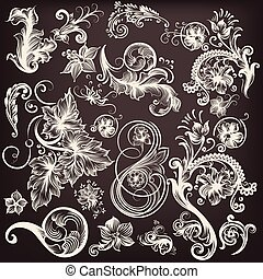 Collection of vector swirl  flourishes.eps