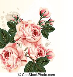 Floral background with pink pastel roses in vintage style.eps