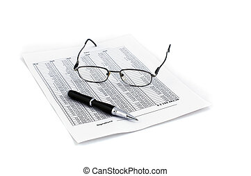 sign the document isolated on white with glasses