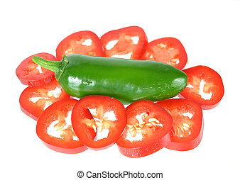 jalapeno pepper - red and green jalapeno peppers isolated on...