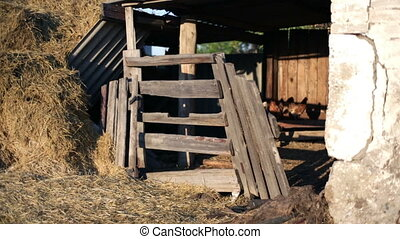 Old Barn - detail of old brocken wooden barn door
