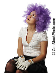 girl the clown with lilac hair