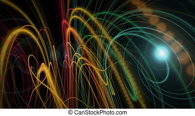 Futuristic animation with particle stripe object and light in motion, loop