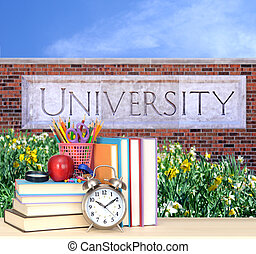university - concept of education: books in the front of...