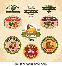 Vintage farm labels vector illustration