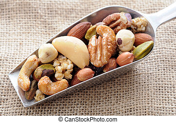 roasted nuts - healthy roasted nuts in spoon display at...