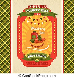 County fair vintage invitation card vector illustration