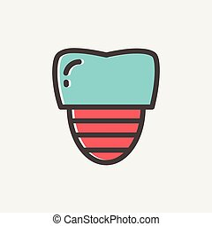 Tooth implant thin line icon - Tooth implant icon thin line...