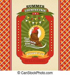 Country fair vintage invitation card vector illustration