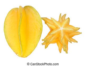 carambola - sliced and whole carambola isolated on white...