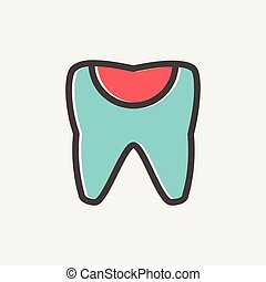 Broken tooth thin line icon - Broken tooth icon thin line...