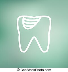 Tooth decay thin line icon - Tooth decay icon thin line for...