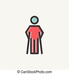 Injured man with crutches thin line icon - Injured man with...