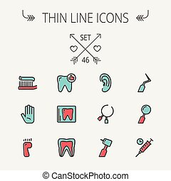 Medicine thin line icon set for web and mobile. Set include-...