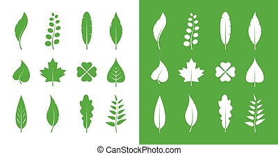 Vector leaves icon set on white background and on green...