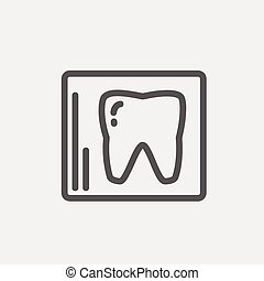 Tooth protected by a glass thin line icon