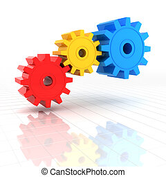 3d render of colourful gears