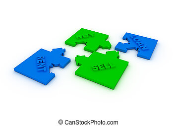 Buy,sell, loah  or rent concept puzzle