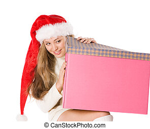 Attractive girl in Santa hat with fancy box, isolated on...